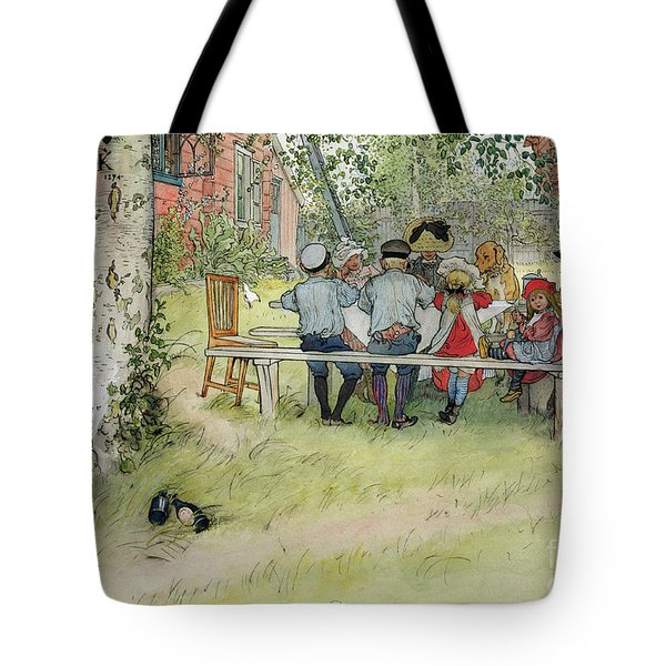 Breakfast Under The Big Birch Tote Bag by Carl Larsson