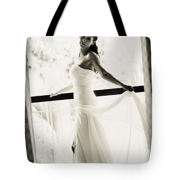 Bride At The Balcony. Black And White Tote Bag by Jenny Rainbow