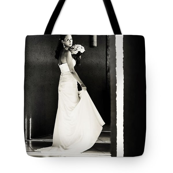 Bride I. Black And White Tote Bag by Jenny Rainbow