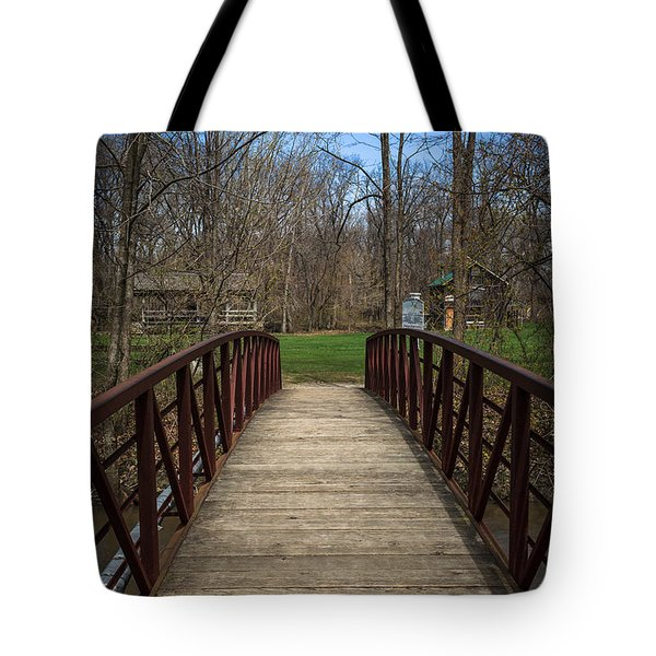 Bridge In Deep River County Park Northwest Indiana Tote Bag by Paul Velgos