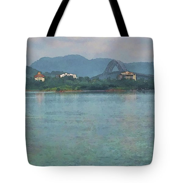 Bridge Of The Americas From Casco Viejo - Panama Tote Bag by Julia Springer