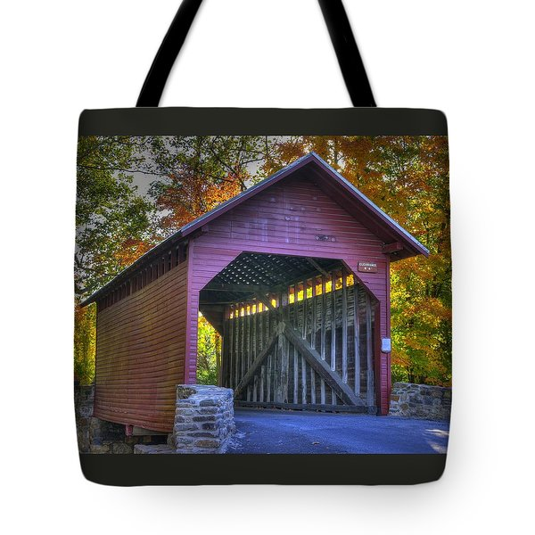 Bridge To The Past Roddy Road Covered Bridge-a1 Autumn Frederick County Maryland Tote Bag by Michael Mazaika