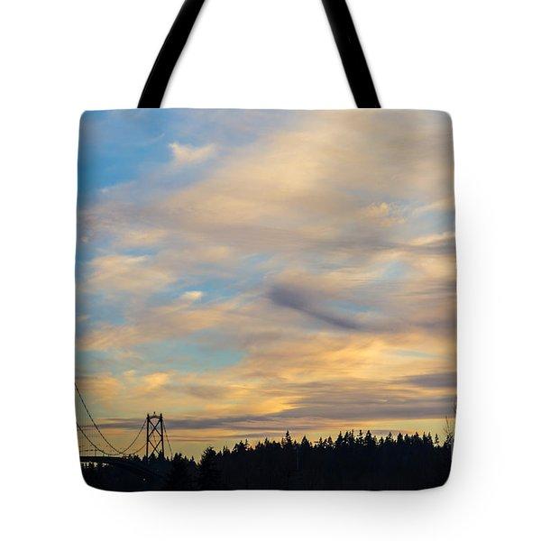 Bridge View Sunset Tote Bag by Alanna DPhoto