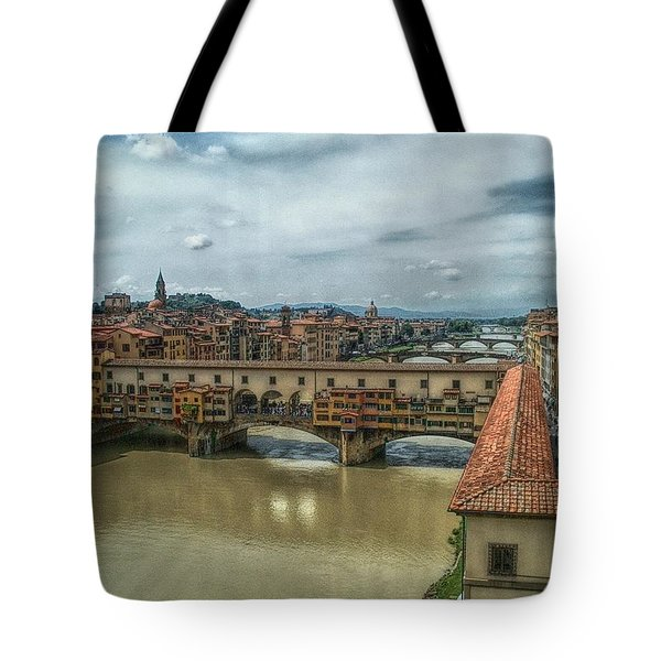 Bridges Of Florence Tote Bag by C H Apperson
