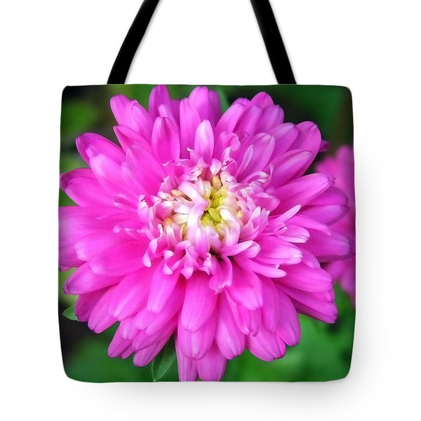 Bright Pink Zinnia Flowers Tote Bag by Christina Rollo