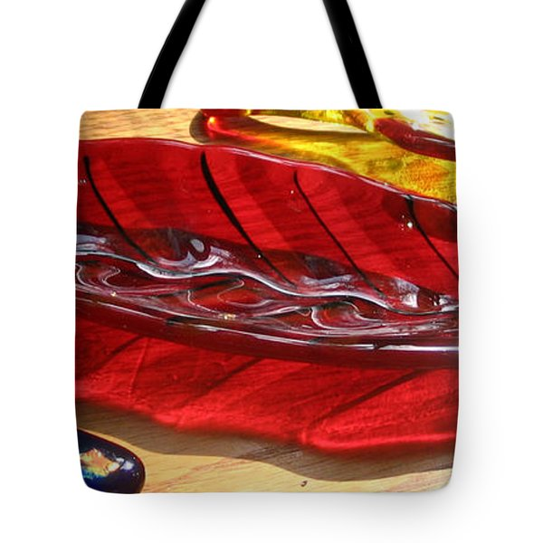Brilliant Red Feather Glass Dish Tote Bag by Donna Spencer