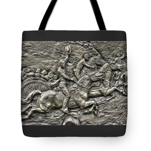 Bringing Up The Battery Detail-b 6th New York Independent Battery Horse Artillery Gettysburg Autumn Tote Bag by Michael Mazaika