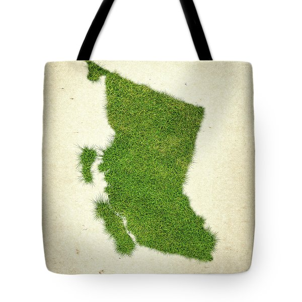 British Columbia Grass Map Tote Bag by Aged Pixel