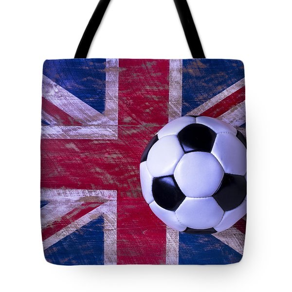 British Flag And Soccer Ball Tote Bag by Garry Gay
