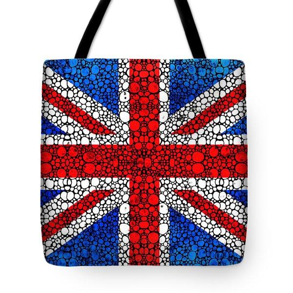 British Flag - Britain England Stone Rock'd Art Tote Bag by Sharon Cummings