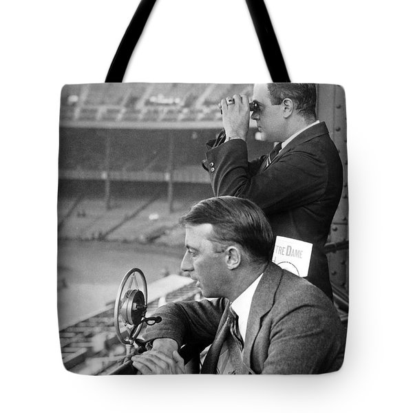 Broadcasting A Football Game Tote Bag by Underwood Archives