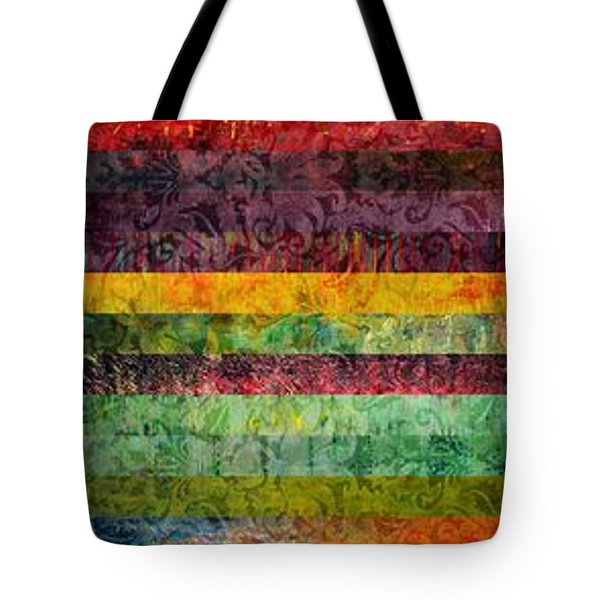 Brocade And Stripes Tower 2.0 Tote Bag by Michelle Calkins