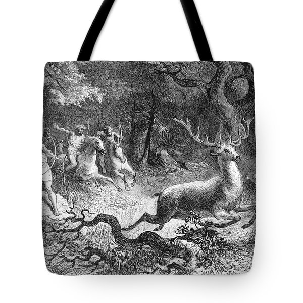 Tote Bag featuring the photograph Bronze Age, Hunting Scene by British Library