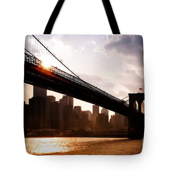 Brooklyn Bridge And Skyline Manhattan New York City Tote Bag by Sabine Jacobs