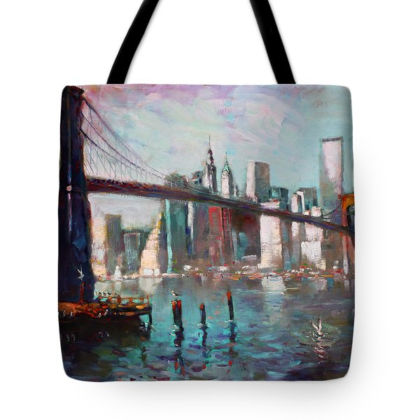 Brooklyn Bridge And Twin Towers Tote Bag by Ylli Haruni