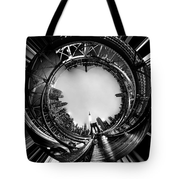 Brooklyn Bridge Circagraph 4 Tote Bag by Az Jackson