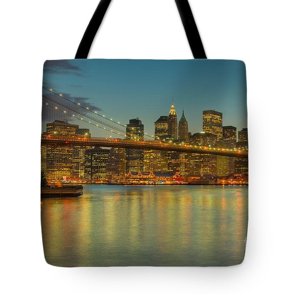 Brooklyn Bridge Twilight Tote Bag by Clarence Holmes