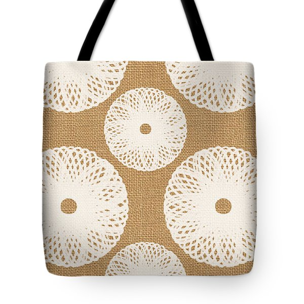 Brown And White Floral Tote Bag by Linda Woods