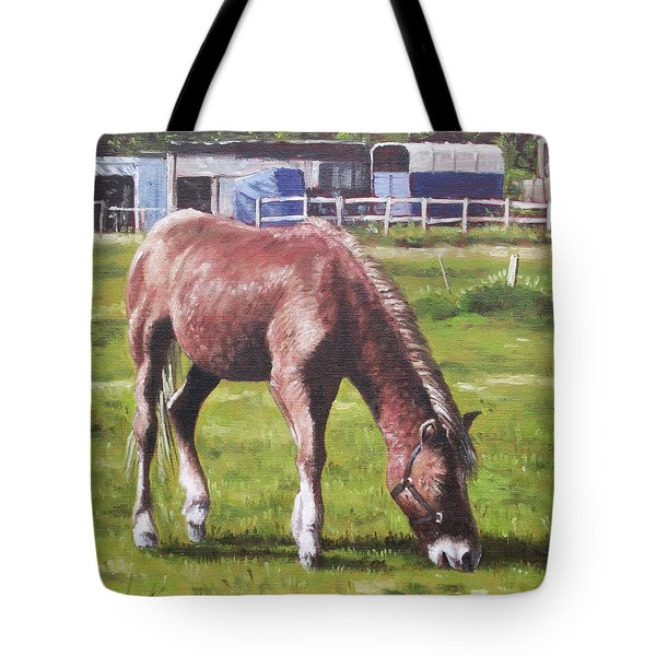 Brown Horse By Stables Tote Bag by Martin Davey