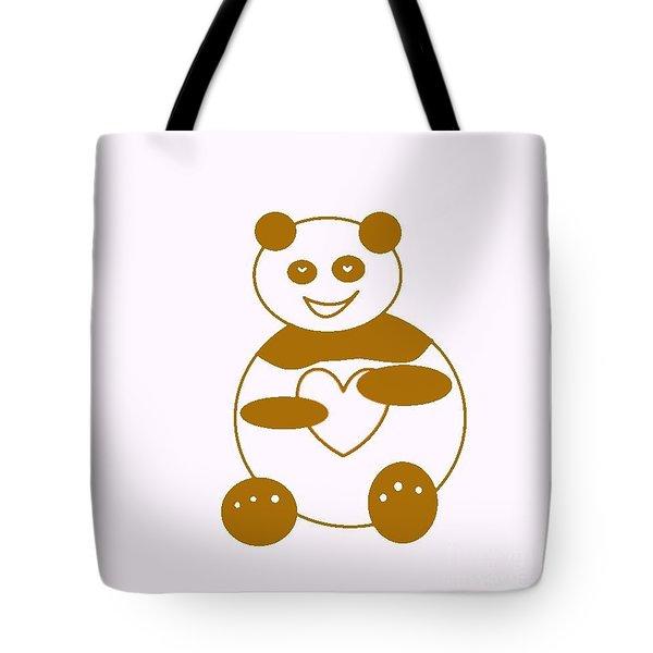 Brown Panda Tote Bag by Ausra Huntington nee Paulauskaite