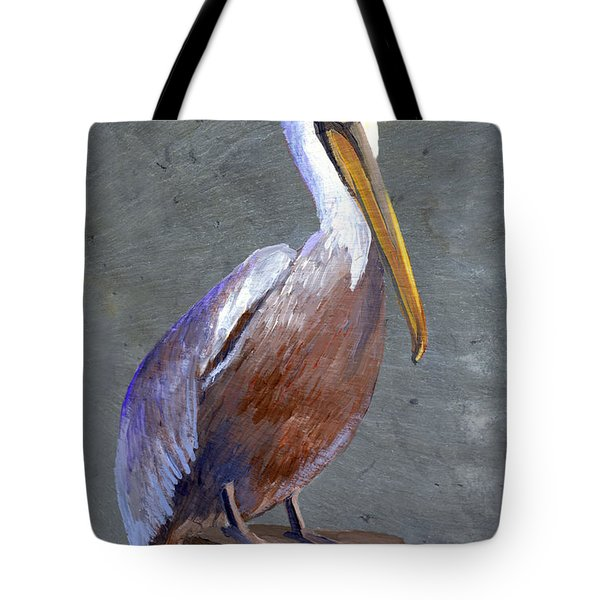 Brown Pelican Tote Bag by Elaine Hodges