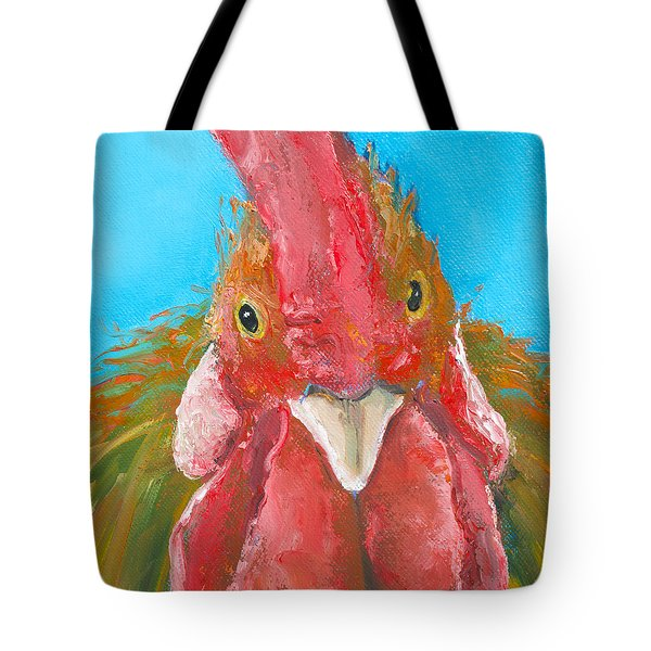 Brown Rooster On Blue Tote Bag by Jan Matson