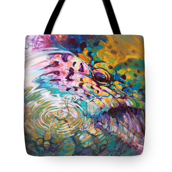 Brown Trout And Mayfly - Abstract Fly Fishing art  Tote Bag by Mike Savlen