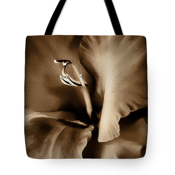 Brown Velvet Gladiolus Flower Tote Bag by Jennie Marie Schell