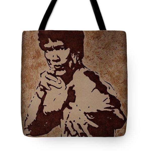 Bruce Lee Original Coffee Painting Tote Bag by Georgeta Blanaru
