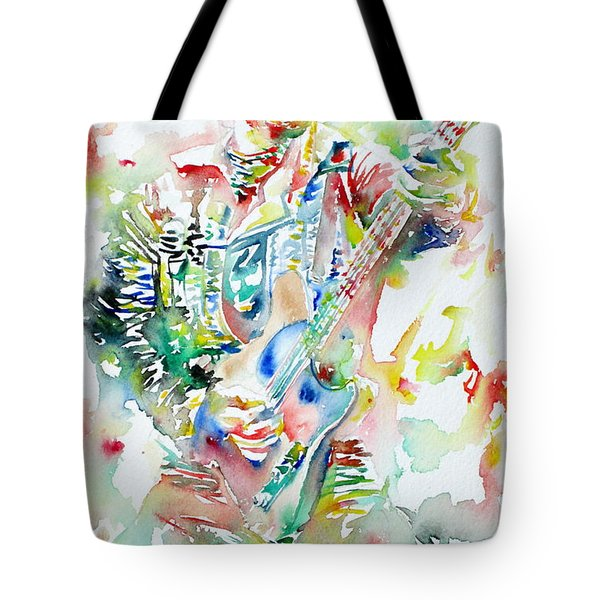 Bruce Springsteen Playing The Guitar Watercolor Portrait Tote Bag by Fabrizio Cassetta