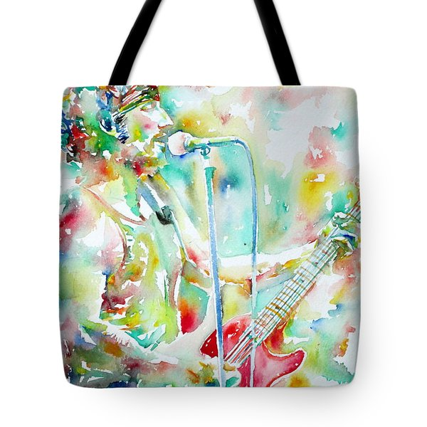BRUCE SPRINGSTEEN PLAYING the GUITAR WATERCOLOR PORTRAIT.1 Tote Bag by Fabrizio Cassetta