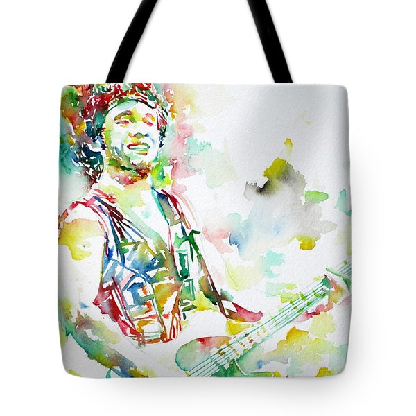 BRUCE SPRINGSTEEN PLAYING the GUITAR WATERCOLOR PORTRAIT.2 Tote Bag by Fabrizio Cassetta