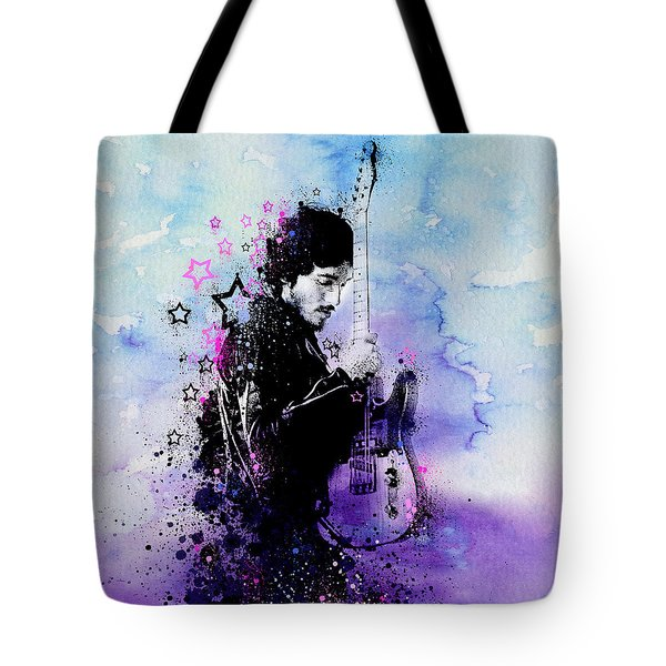 Bruce Springsteen Splats And Guitar 2 Tote Bag by Bekim Art