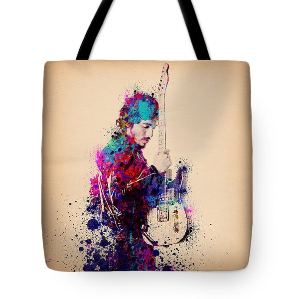 Bruce Springsteen Splats And Guitar Tote Bag by Bekim Art