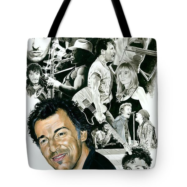 Bruce Springsteen Through The Years Tote Bag by Ken Branch