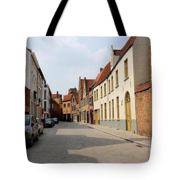 Bruges Side Street Tote Bag by Carol Groenen