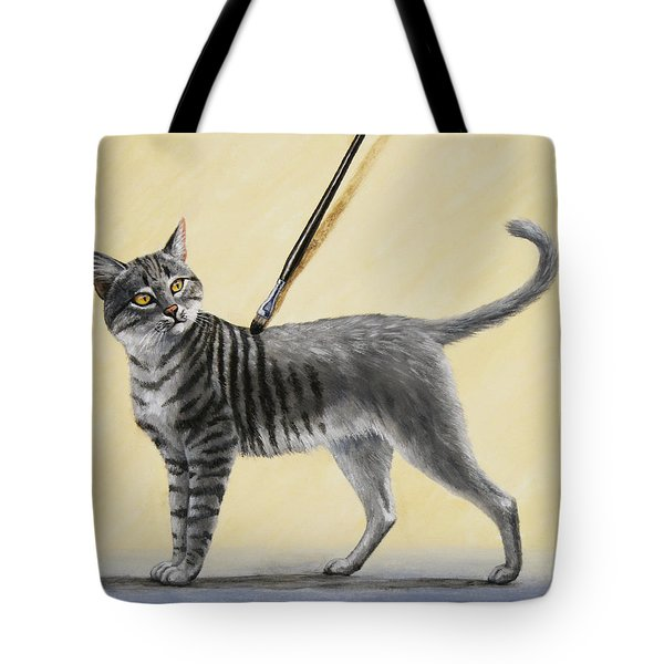 Brushing the Cat - No. 2 Tote Bag by Crista Forest