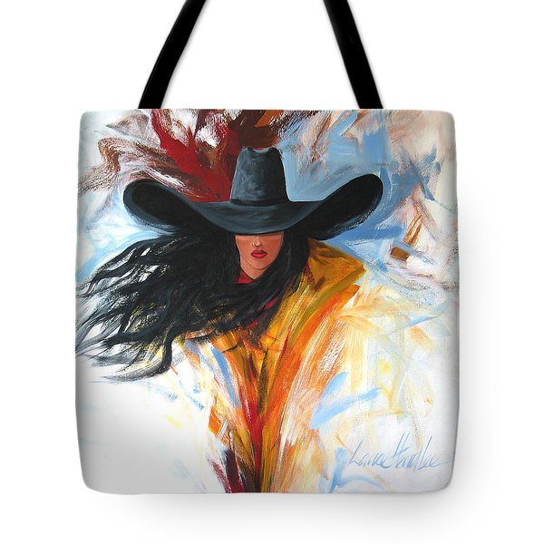 Brushstroke Cowgirl Tote Bag by Lance Headlee