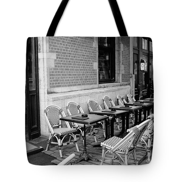 Brussels Cafe in Black and White Tote Bag by Carol Groenen
