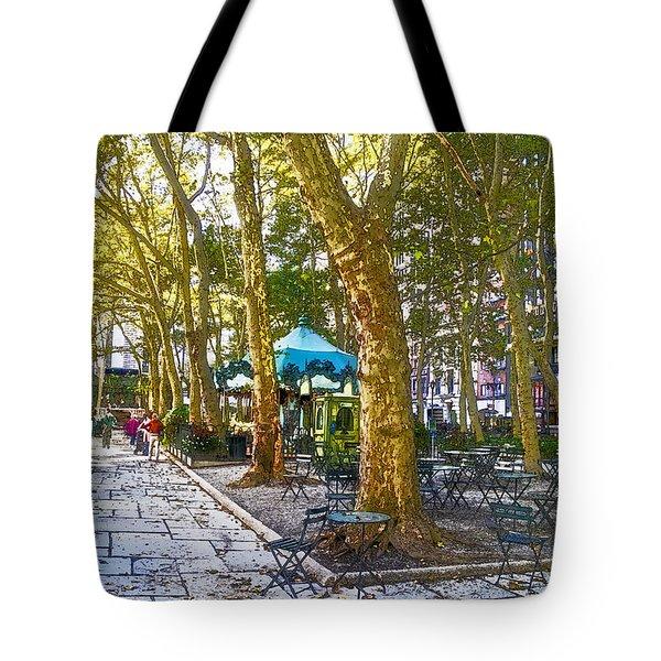 Bryant Park October Tote Bag by Liz Leyden