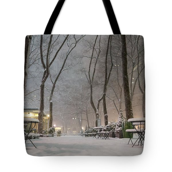 Bryant Park - Winter Snow Wonderland - Tote Bag by Vivienne Gucwa