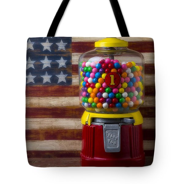 Bubblegum Machine And American Flag Tote Bag by Garry Gay