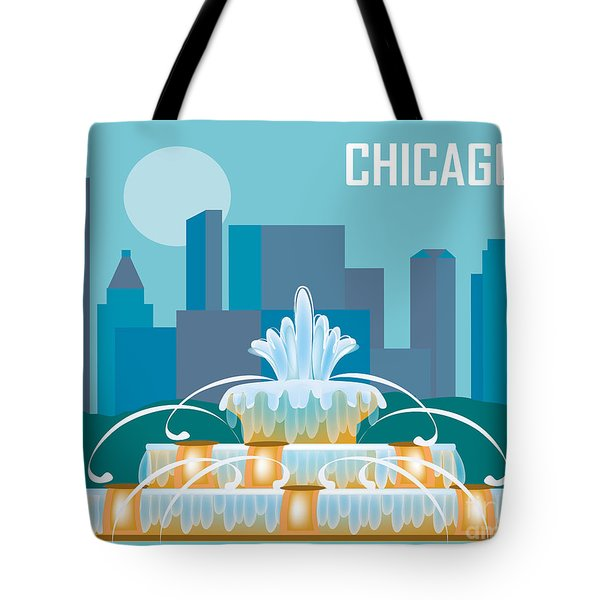 Buckingham Fountain Chicago Tote Bag by Karen Young