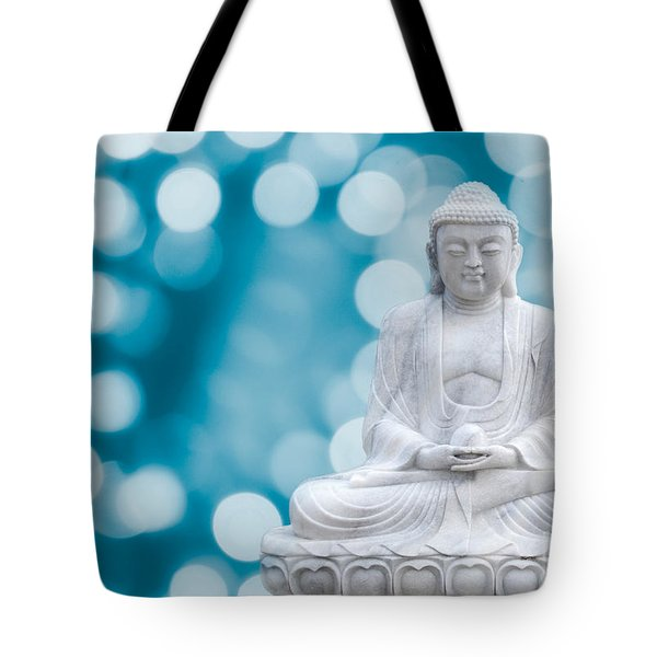 Buddha Enlightenment Blue Tote Bag by Hannes Cmarits