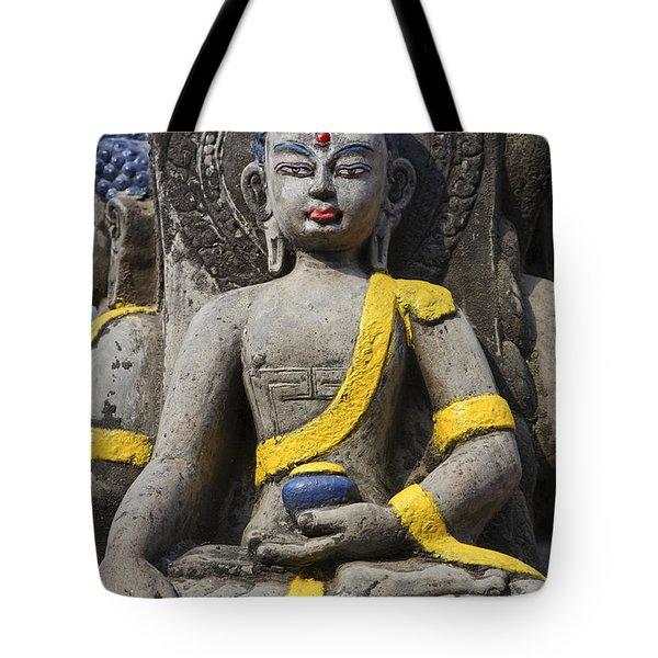 Buddha Figure In Kathmandu Nepal Tote Bag by Robert Preston