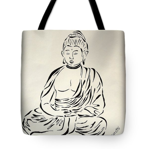 Buddha In Black And White Tote Bag by Pamela Allegretto