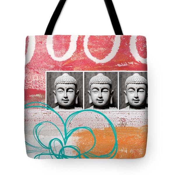 Buddha With Flower Tote Bag by Linda Woods