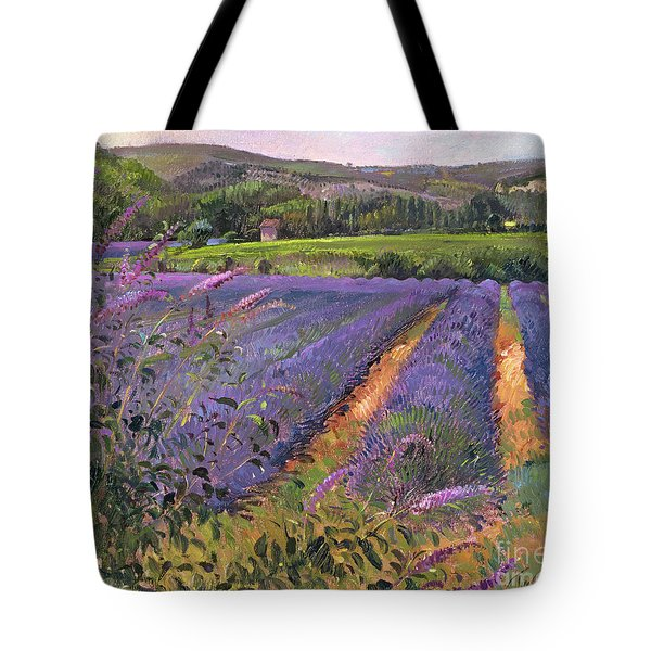 Buddleia And Lavender Field Montclus Tote Bag by Timothy Easton
