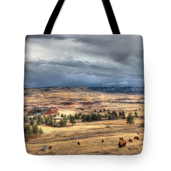 Tote Bag featuring the photograph Buffalo Before The Storm by Bill Gabbert