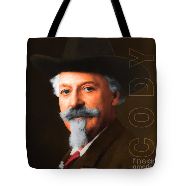 Buffalo Bill Cody 20130516 square with text Tote Bag by Wingsdomain Art and Photography